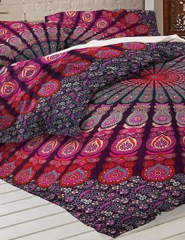 Heyrumbh Handicrafts Peacock Wing Ombre Mandala Cotton Tapestry Duvet (Lavender, 82 X 52 Inches