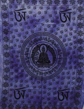 Heyrumbh Handicrafts OM Sign & Buddha Tapestry Wall Hanging Cotton Poster (Purple, 40 X 30 Inches