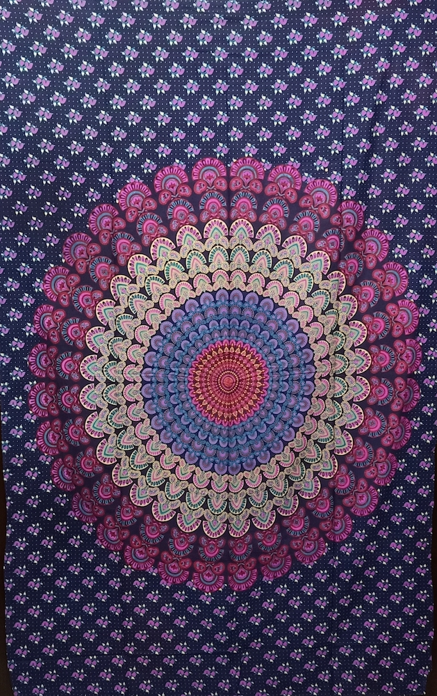 Heyrumbh Handicrafts Old Peacock Wing Mandala Wall Hanging Cotton Tapestry(Lavender, 54 X 84 Inches)