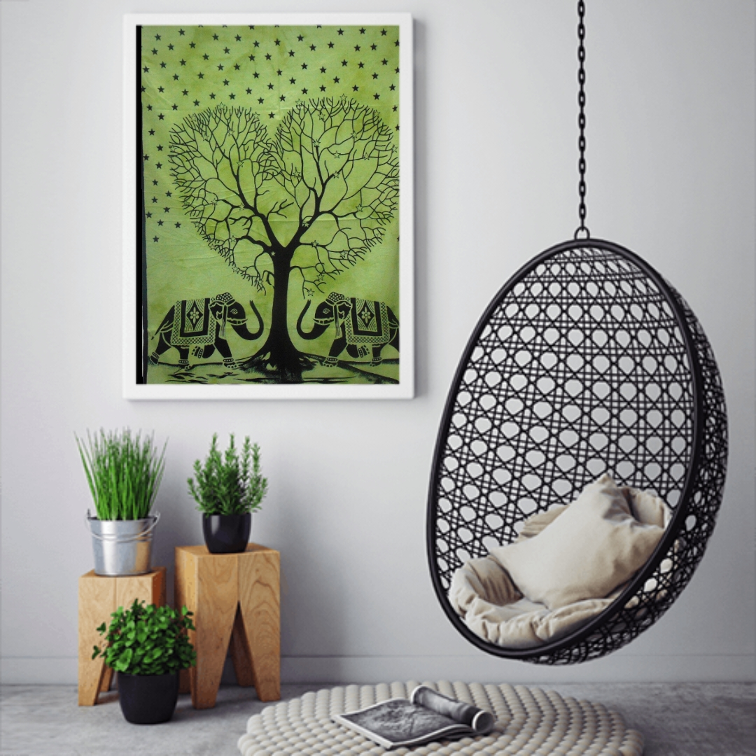 Heyrumbh Handicrafts Heart Tree and Two elephant Wall Hanging Tie Dye Cotton Poster(Green, 40 X 30 Inches)