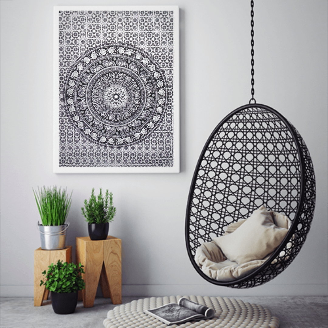 Heyrumbh Handicrafts Flower Center Elephant Wall Hanging Tie Dye Cotton Poster(Black and White, 40 X 30 Inches)