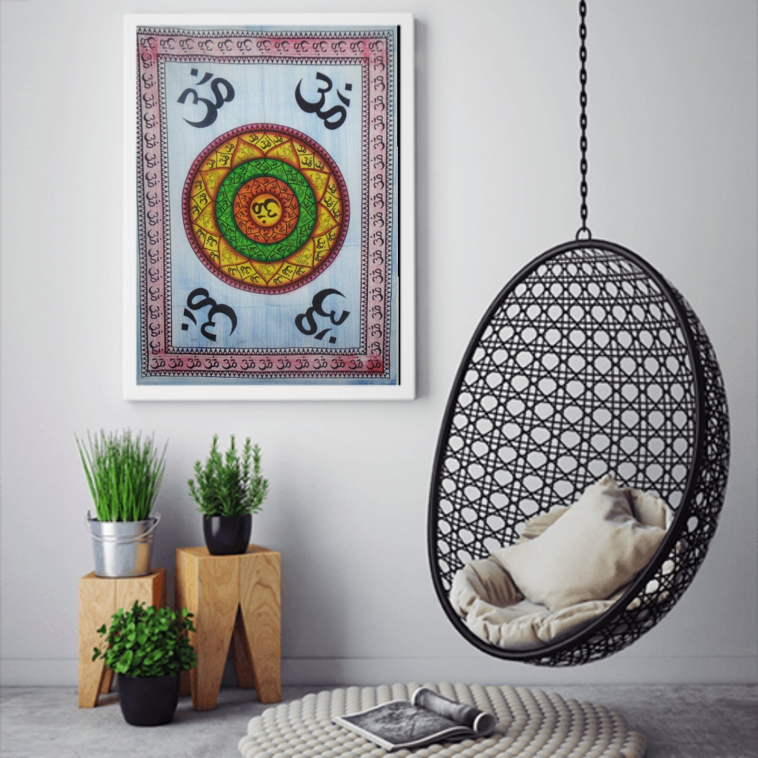 Heyrumbh Handicrafts 4 Corner OM Wall Hanging Tie Dye Cotton Poster(Brush Paint Multi Color, 40 X 30 Inches)