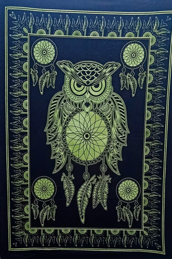 Heyrumbh Handicrafts Owl Dream Catcher Tie Dye Cotton Wall Hanging Poster(Black and Green, 40 X 30 Inches)