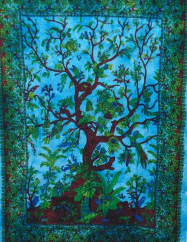 Heyrumbh Handicrafts Life of Tree Wall Hanging Tie Dye Cotton Poster(Turquoise, 40 X 30 Inches)
