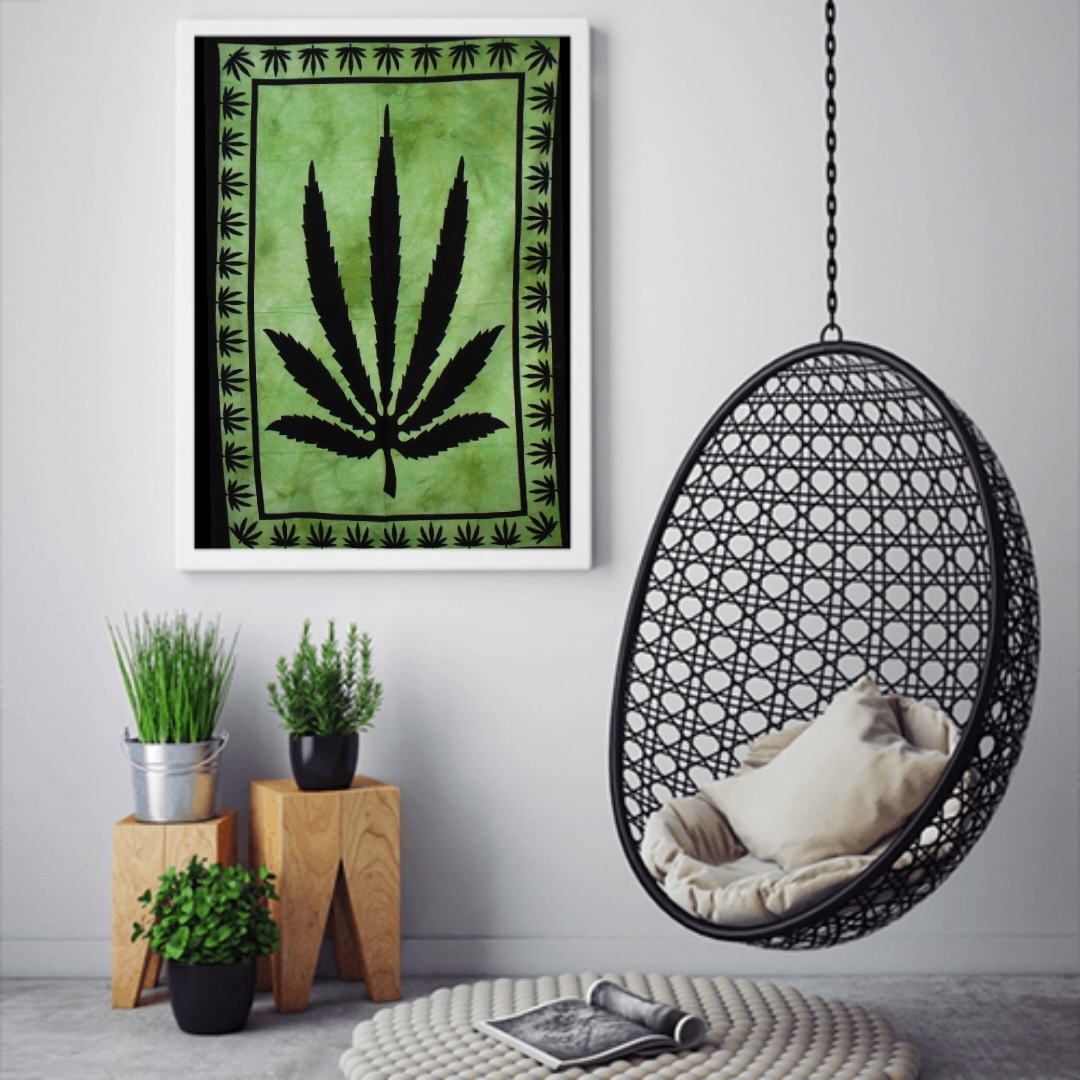 Heyrumbh Handicrafts Ganja Leaf Tapestry Wall Hanging Cotton Poster (Green, 40 X 30 Inches