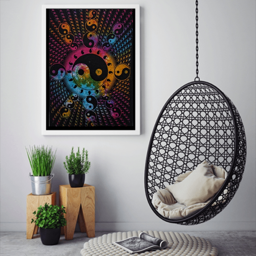 Heyrumbh Handicrafts Yin & Yang Line Tapestry Wall Hanging Cotton Poster(Multi Color, 40 X 30 Inches)