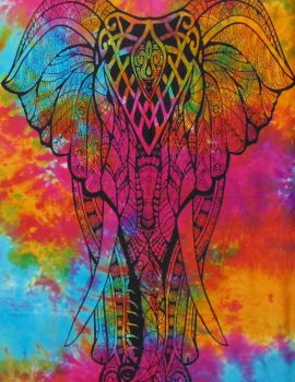 Heyrumbh Handicrafts Good Luck Front Face Elephant Cotton Wall Hanging Tapestry(Multi Color, 54 X 84 Inches)