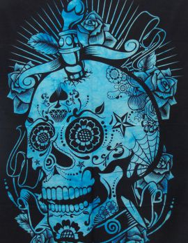Heyrumbh Handicrafts Skull Head Tapestry Wall Hanging Cotton Poster(Turquoise, 40 X 30 Inches)