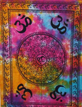 Heyrumbh Handicrafts 4 Corner OM Wall Hanging Tapestry(Multi Color, 54 X 84 Inches)