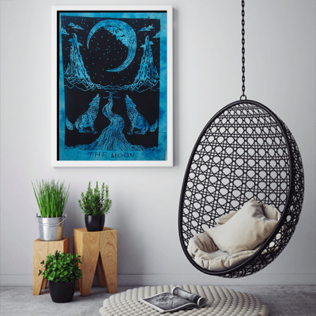 Heyrumbh Handicrafts The Wolf Moon Tapestry Wall Hanging Cotton Poster(Turquoise, 40 X 30 Inches)