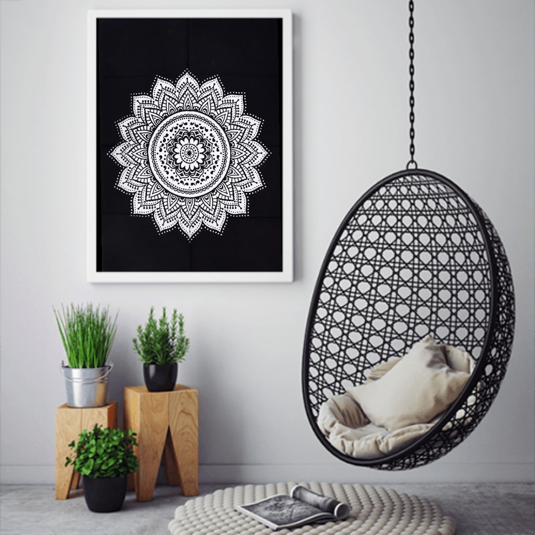 Heyrumbh Handicrafts Gad Flower Ombre Mandala Wall Hanging Tie Dye Cotton Poster(Black and White, 40 X 30 Inches)