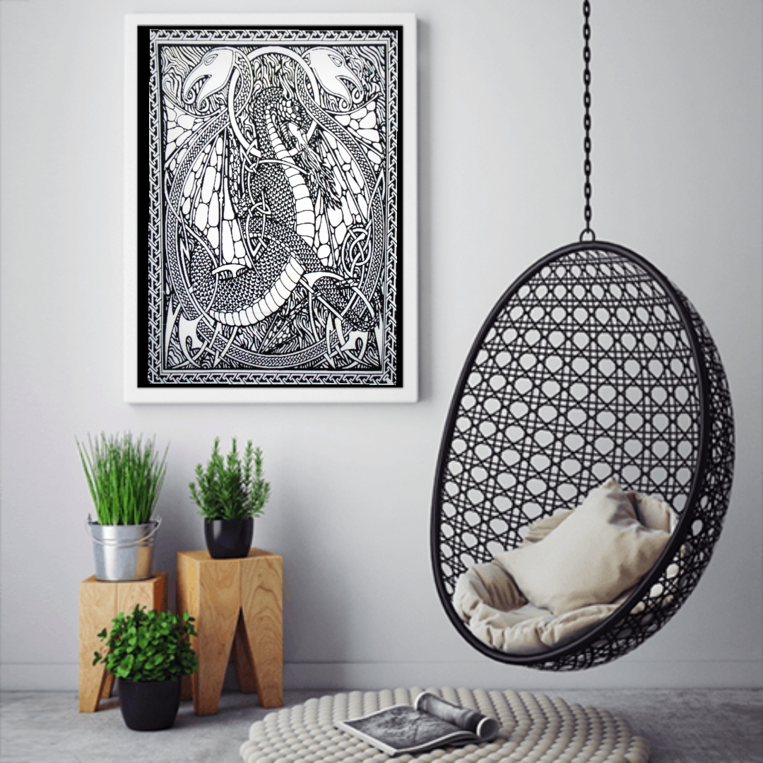 Heyrumbh Handicrafts Two Dragon Tapestry Wall Hanging Cotton Poster(Black and White, 40 X 30 Inches)