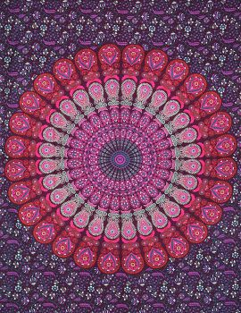 Heyrumbh Handicrafts Peacock Wing Ombre Mandala Cotton Tapestry Duvet (Lavender, 82 X 90 Inches