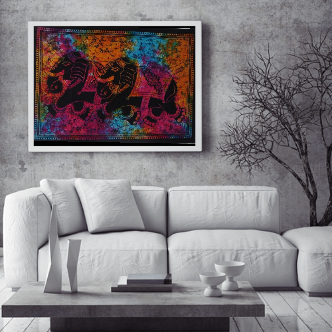 Heyrumbh Handicrafts Double Elephant Wall Hanging Tie Dye Cotton Poster(Multi Color, 40 X 30 Inches)