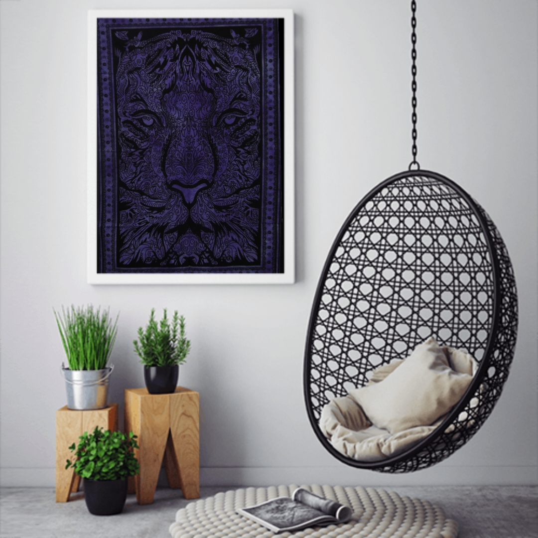Heyrumbh Handicrafts Leo Lion Face Wall Hanging Tie Dye Cotton Poster(Purple, 40 X 30 Inches)