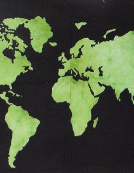 Heyrumbh Handicrafts World Map Tapestry Wall Hanging Cotton Poster(Green, 40 X 30 Inches)