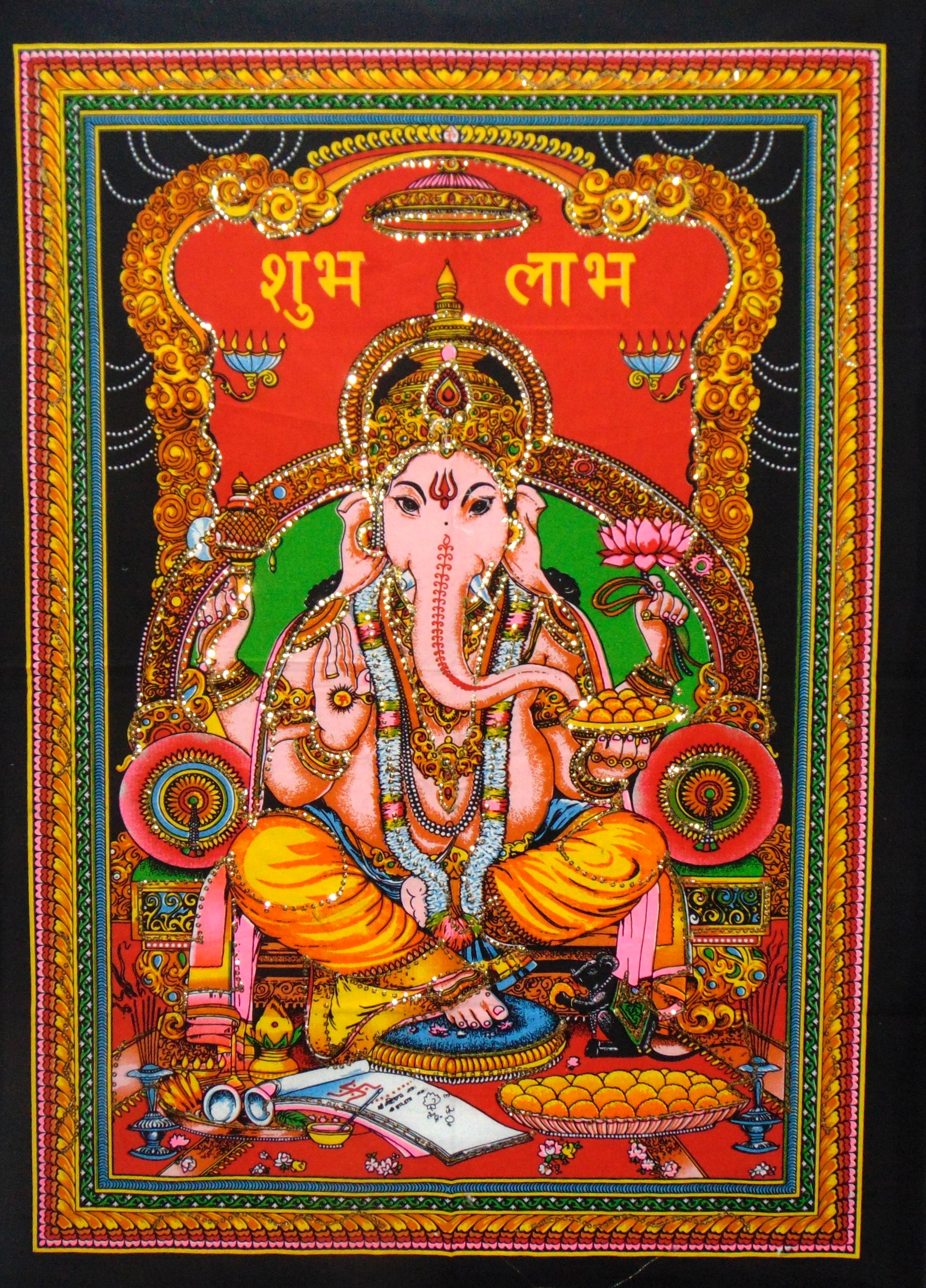Heyrumbh Handicrafts Lord Ganesha Wall Hanging Tapestry Poster(Brush Paint Multi Color, 40 X 30 Inches)