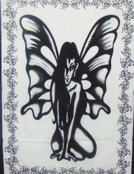 Heyrumbh Handicrafts Butterfly Angel Wall Hanging Tie Dye Cotton Poster(Black and White, 40 X 30 Inches)