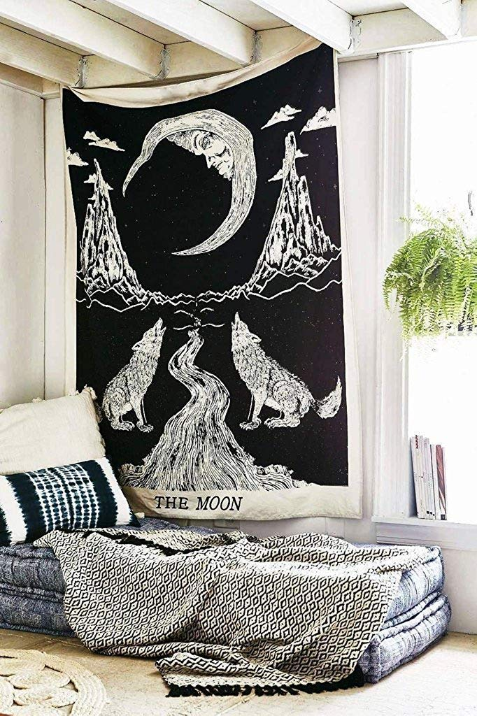 Heyrumbh Handicrafts The Wolf Moon Wall Hanging Tapestry (Black and White, 54 X 84 Inches
