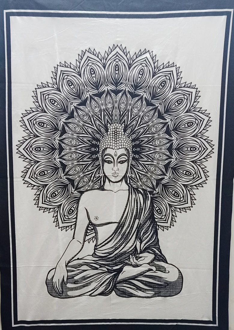 Heyrumbh Handicrafts Peacock Wing Lord Budha Wall Hanging Tie Dye Cotton Poster(Black and White, 40 X 30 Inches)