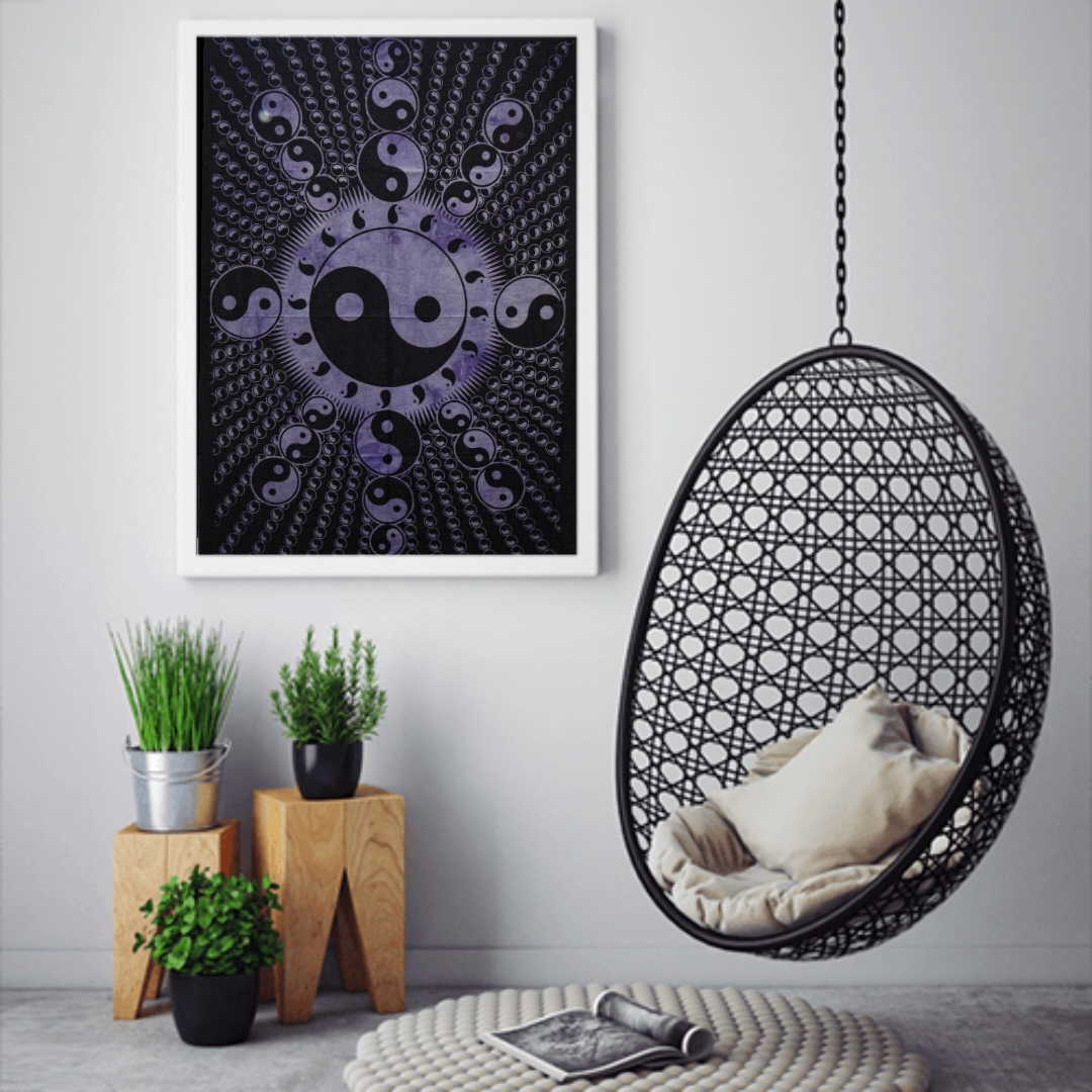 Heyrumbh Handicrafts Yin & Yang Line Tapestry Wall Hanging Cotton Poster (Purple, 40 X 30 Inches