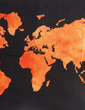 Heyrumbh Handicrafts World Map Tapestry Wall Hanging Cotton Poster (Orange, 40 X 30 Inches