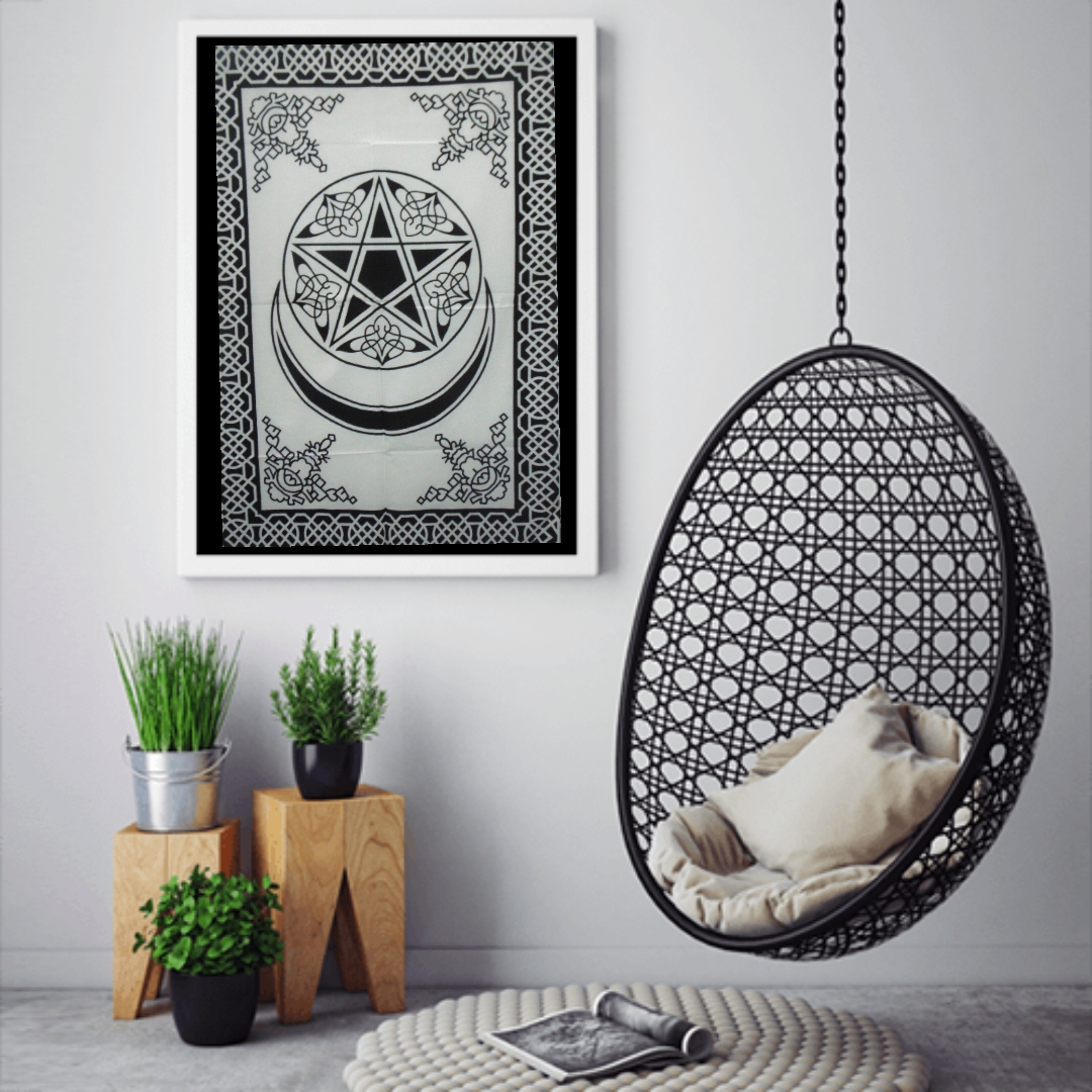 Heyrumbh Handicrafts Pentacle Moon and Star Wall Hanging Tie Dye Cotton Poster (Black and White, 40 X 30 Inches