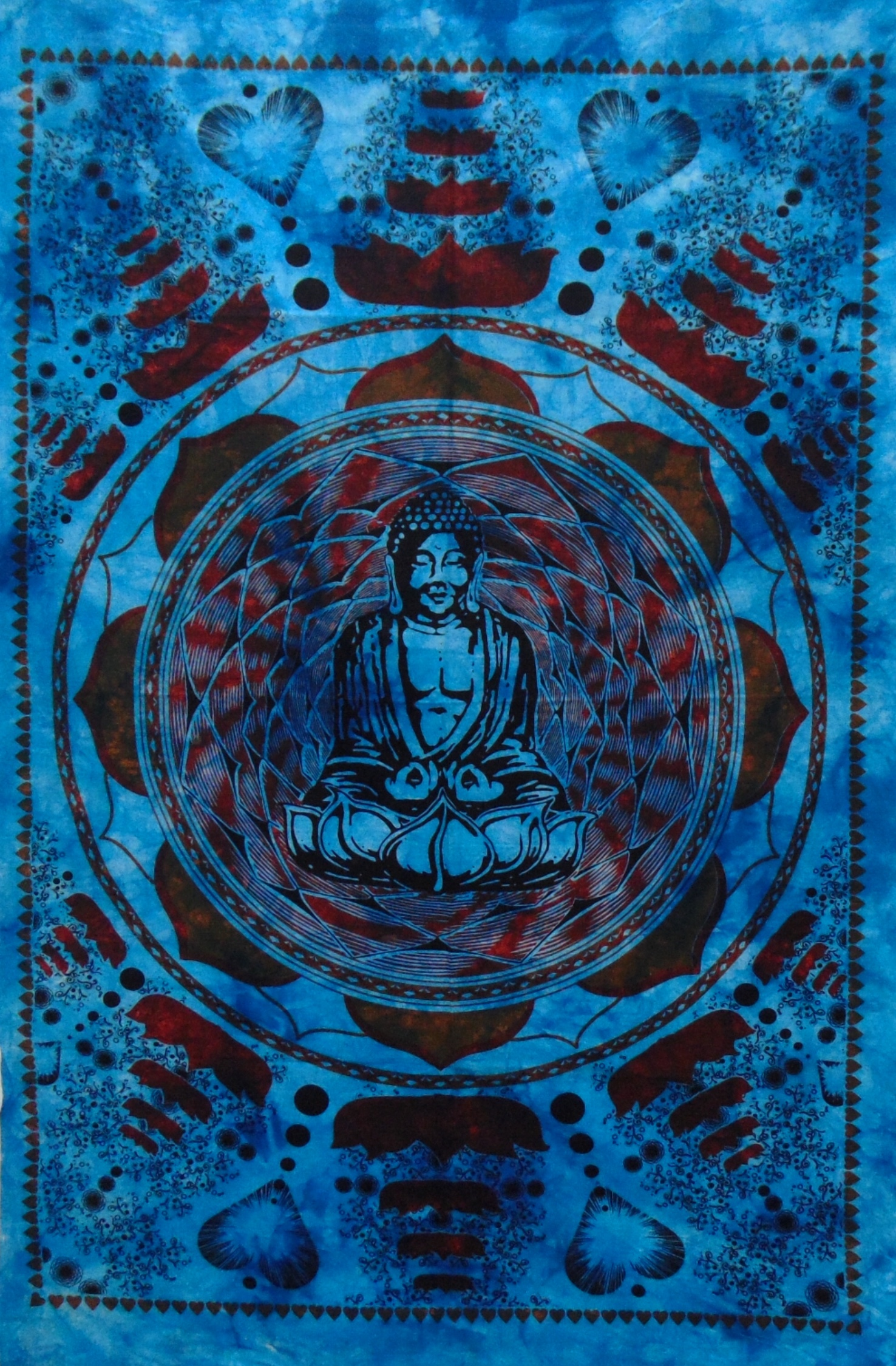 Heyrumbh Handicrafts Lotus Buddha Tapestry Wall Hanging Cotton Poster(Turquoise, 40 X 30 Inches)