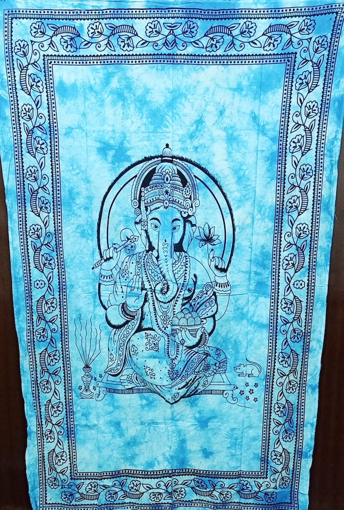 Heyrumbh Handicrafts Lord Ganesha Wall Hanging Cotton Tapestry(Turquoise, 54 X 84 Inches)