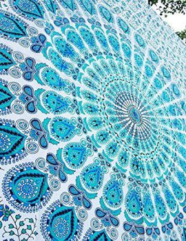 Heyrumbh Handicrafts Peacock Wing Mandala Wall Hanging Cotton Tapestry(Turquoise, 54 X 84 Inches)