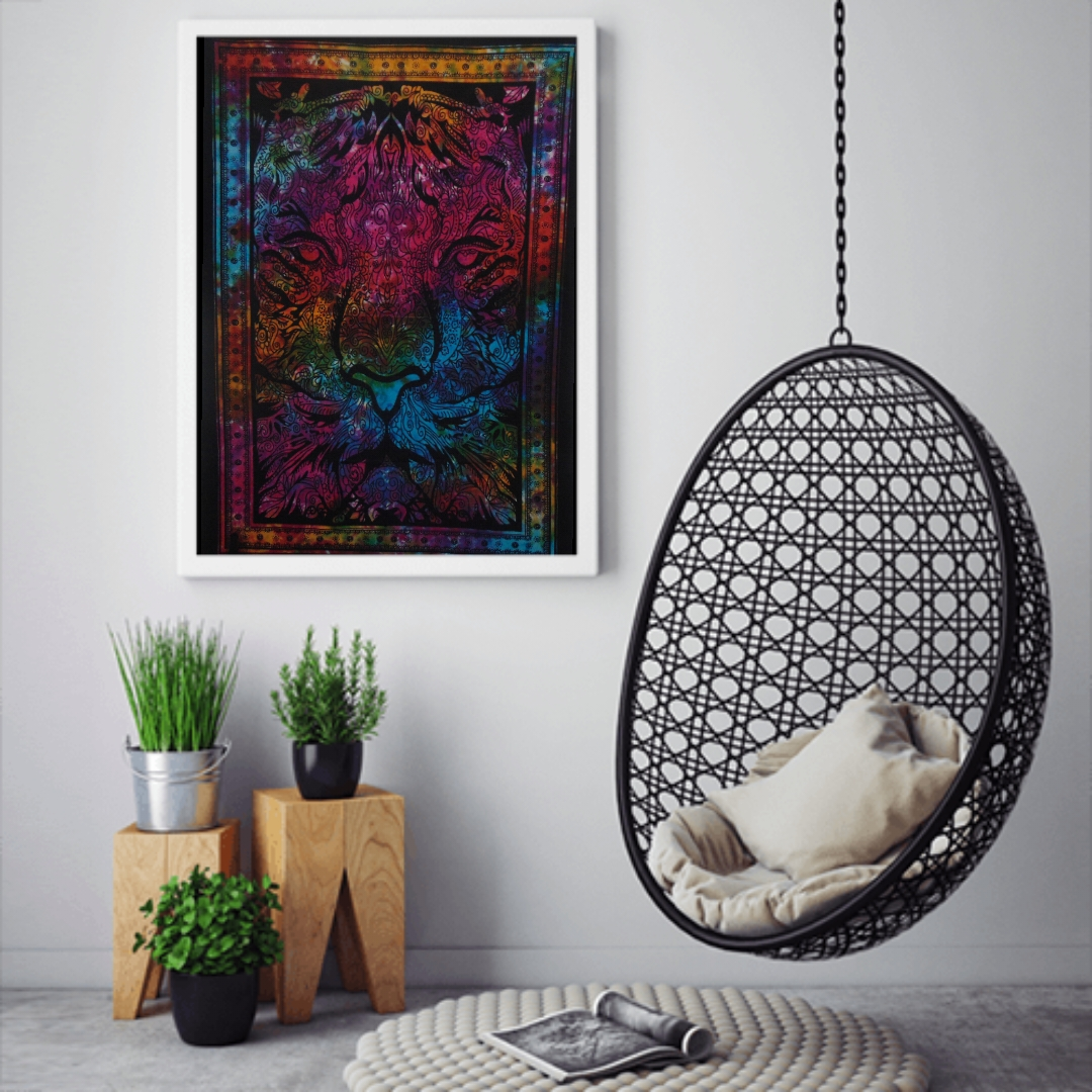 Heyrumbh Handicrafts Leo Lion Face Wall Hanging Tie Dye Cotton Poster(Multi Color, 40 X 30 Inches)