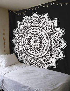 Heyrumbh Handicrafts Flower Ombre Mandala Wall Hanging Cotton Tapestr(Black and White, 84 X 90 Inches)