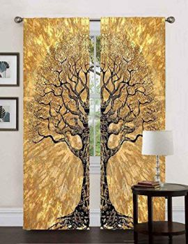 Heyrumbh Handicrafts Dry Tree Wall hanging Cotton Tapestry Curtain (Yellow, 24 X 82 Inches