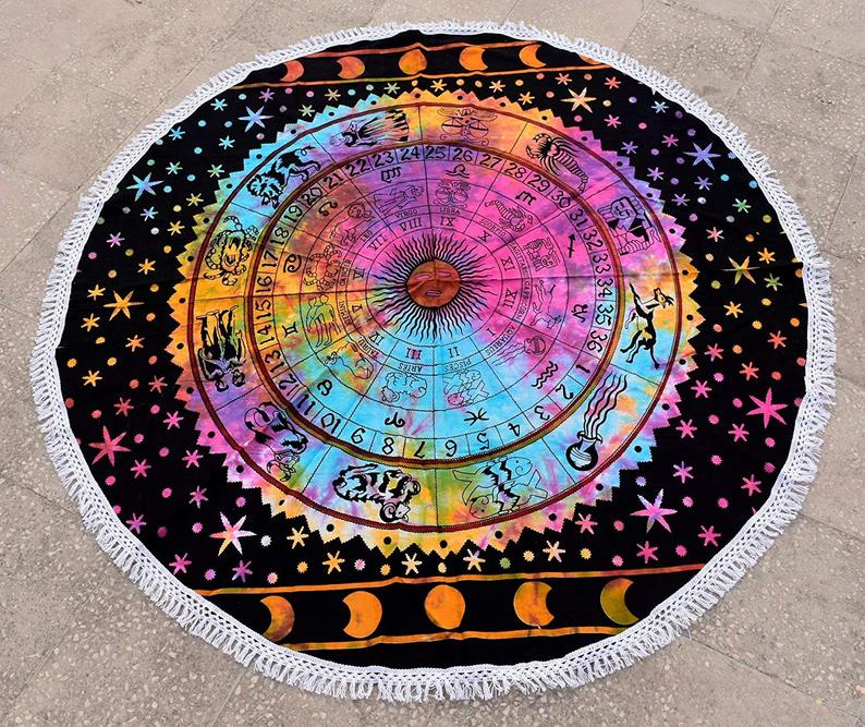 Heyrumbh Handicrafts Zodiac Sign Yoga Mat Beach Throw Round Table Cover Tapestry(Multi Color, 50 Inches)