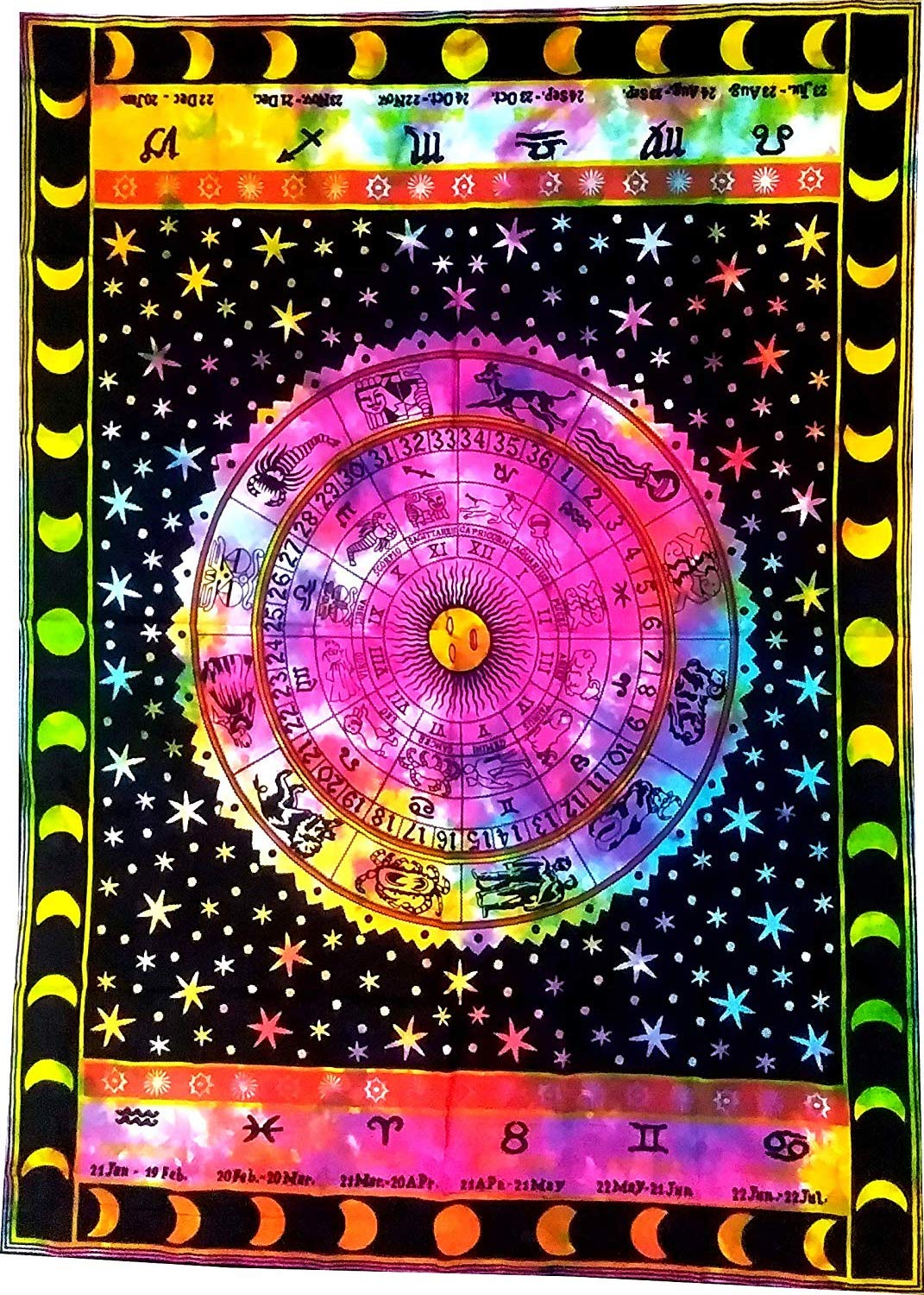 Heyrumbh Handicrafts Zodiac Sign Mandala Wall Hanging Cotton Tapestry (Multi Color, 54 X 84 Inches