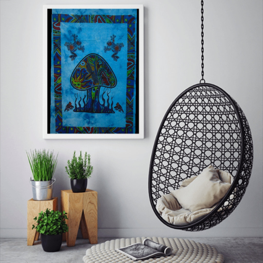 Heyrumbh Handicrafts Mushroom Tapestry Wall Hanging Cotton Poster (Turquoise, 40 X 30 Inches