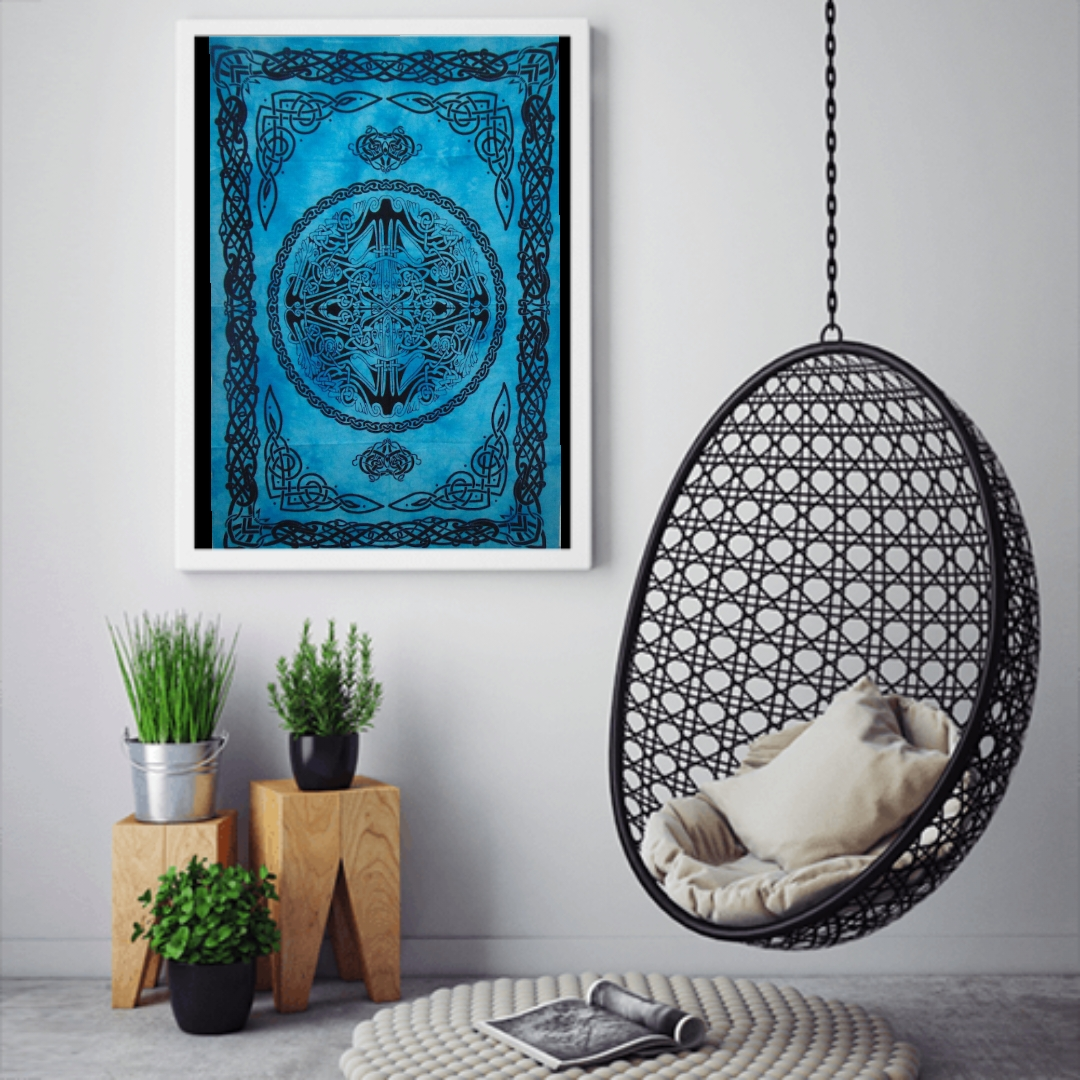 Heyrumbh Handicrafts Celtic Peace Sing Mandala Wall Hanging Tie Dye Cotton Poster(Turquoise, 40 X 30 Inches)