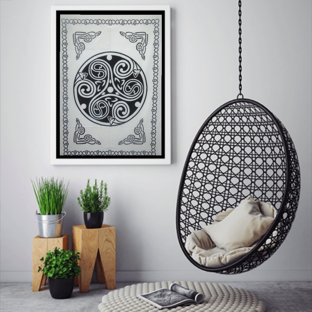 Heyrumbh Handicrafts Celtic Round Mandala Wall Hanging Tie Dye Cotton Poster(Black and White, 40 X 30 Inches)
