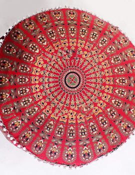 Heyrumbh Handicrafts Peacock Wing Mandala Floor Ottoman Cover Without Filler (Red, 24 X 14 inches