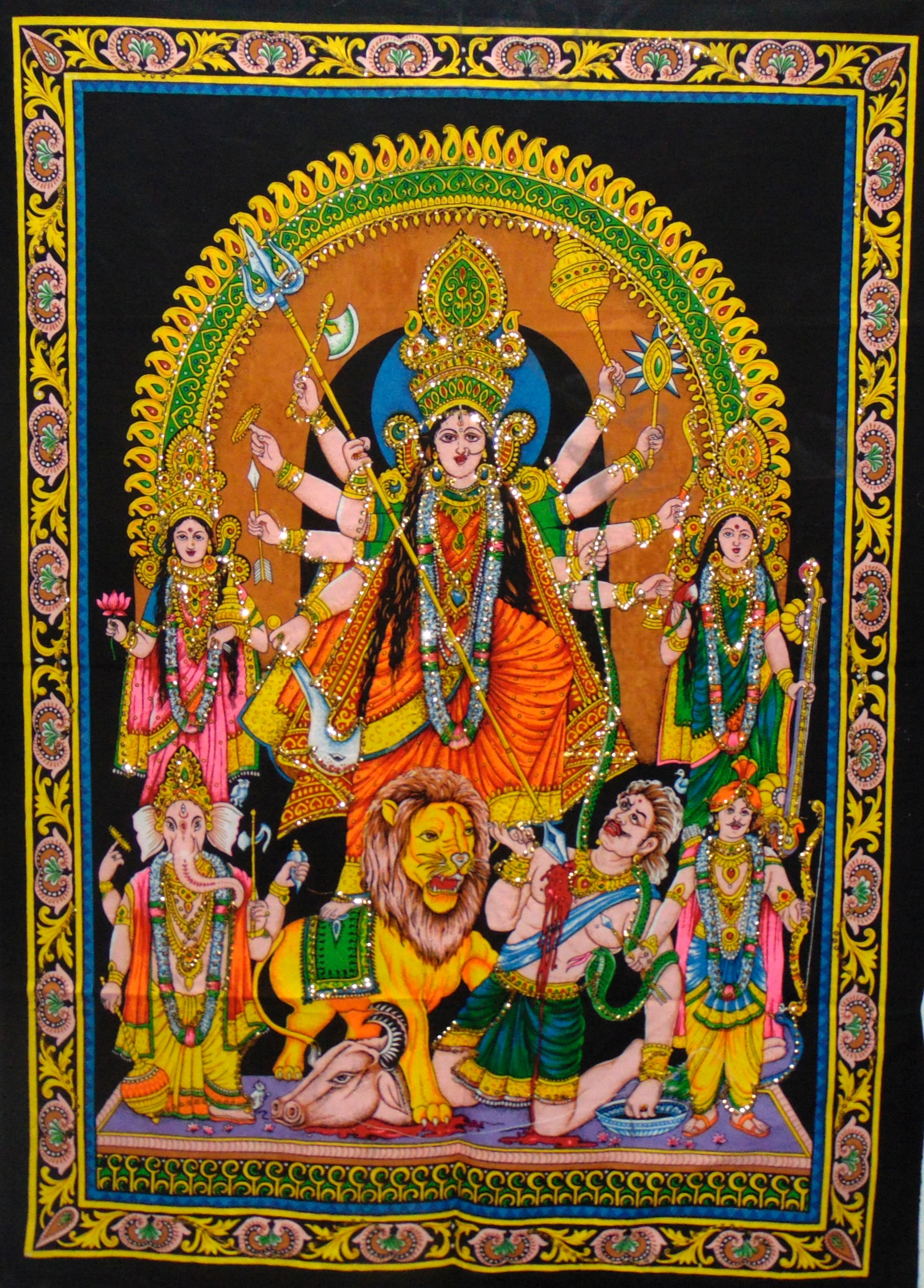 Heyrumbh Handicrafts Godes Maa Durga Wall Hanging Tapestry Poster(Brush Paint Multi Color, 40 X 30 Inches)